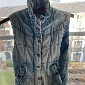 H&M blue fitted Denim Jean puff vest size 2